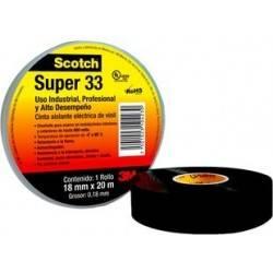 Cinta Aislante de PVC Scotch® SUPER 33 de 0.018 X 20 M