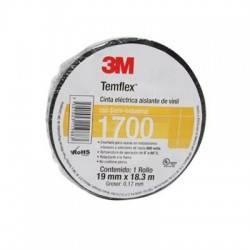 Cinta Aislante de PVC Temflex® 1700  Negra de  0.018 X 18.3 M